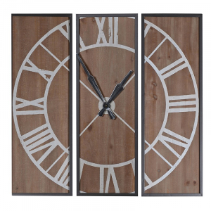 3 Section Wood Wall Clock