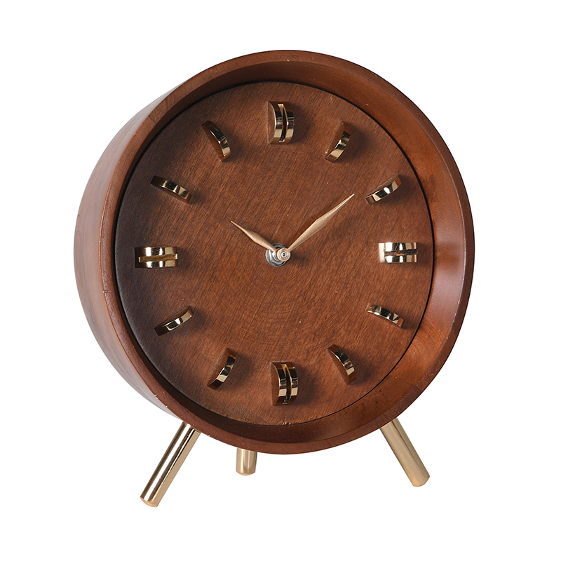 Brass & Wood Table Clock