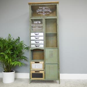 Industrial Green Metal Cabinet