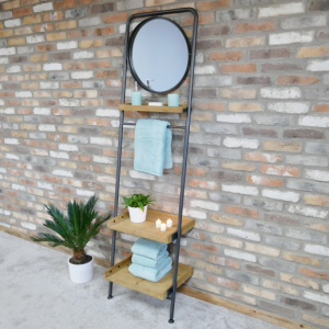 Industrial Shelved Mirror Stand