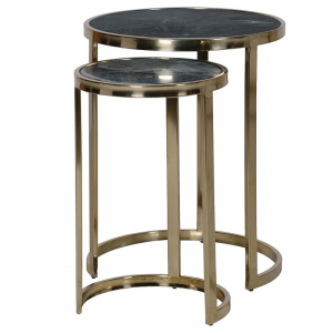 Set of 2 Green Marble Nesting Tables