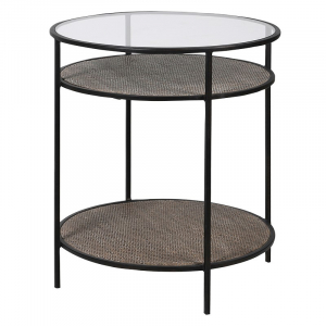 Glass Top Side Table with Shelf