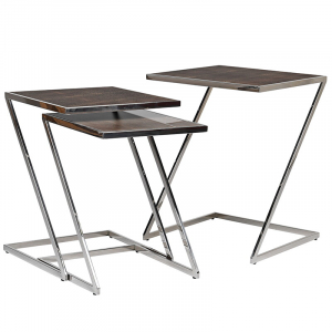 Set of Three Stainless Steel Tables with Glass