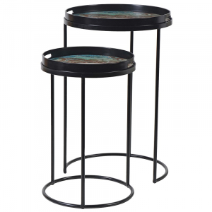 Set of Two Green Marble Effect Tray Tables