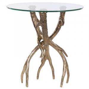 Gold Antler Base Side Table