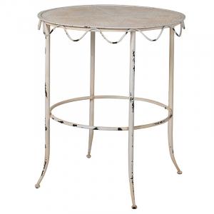 Distressed Cream Metal Side Table