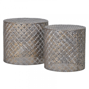 2 Cylindrical Iron Tables